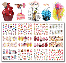 Nail 12 Sheets / Lot MT91-102 Färgglada Tårta Cool Drink Ice Cream Nail Art Water Decal Klistermärke För Nail Art Tattoo Decoration