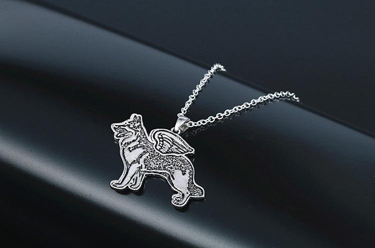 Новый Кулон Цепочки и ожерелья собака ангел щенок ручной работы полиции K9 Пособия по немецкому языку Shepherd Цепочки и ожерелья подвеска ювели...