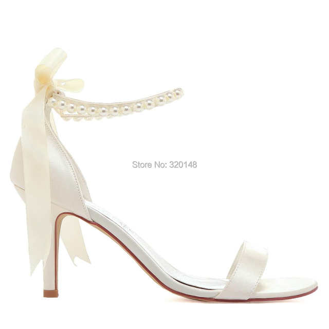 e914293973bd Summer Women Sandals EP11053N Ivory White High Heel Pearls Ankle Strap Satin  Lady Bride Evening Party