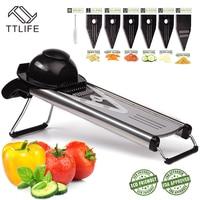 TTLIFE Professional Multifunctional V Slicer Mandoline Slicer Food Chopper Fruit Vegetable Cutter With 5 Blades Kitchen