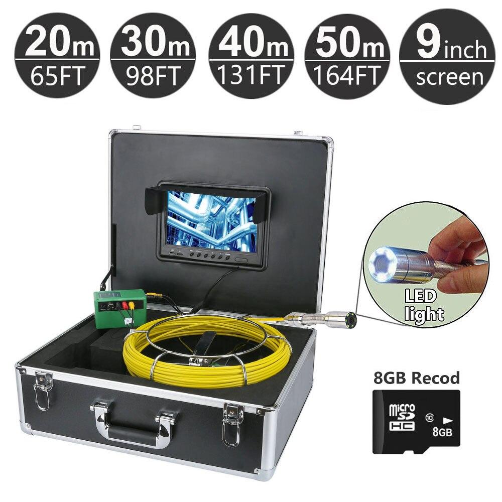 20 м 50 м труба трубопровода инспекционная система, 9 дюймов монитор 1000 TVL камера, слив Сантехнический трос камера видео рекордер с картой 8 Гб