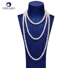 [YS] Fine Jewelry 6-7mm Natural White Freshwater Cultured Pearl Princess Sweater Necklace For Women 90cm Length Free shipping