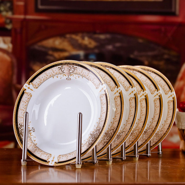 6pcs/set American Dining Room Ceramic Tableware Jingdezhen Bone China Porcelain Dinnerware 8*inch : dining room plate sets - pezcame.com
