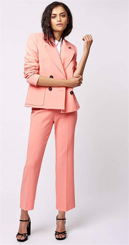 Coral Business Pant Suits For Women Ladies Double Breasted Blazer With Pants Women's Work Pantsuit Custom Made