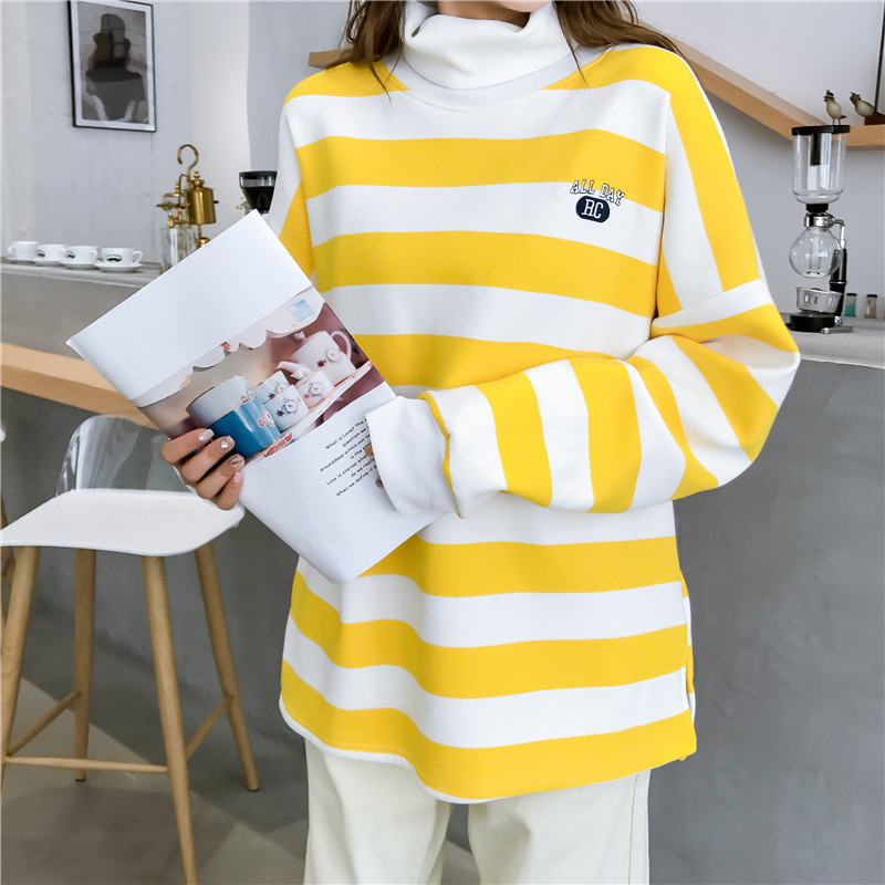 Independent 2018 Korean Version Of Casual Stripes Yellow White High Collar Long-sleeved Sweater Harajuku Loose Quality Fashion Sweater