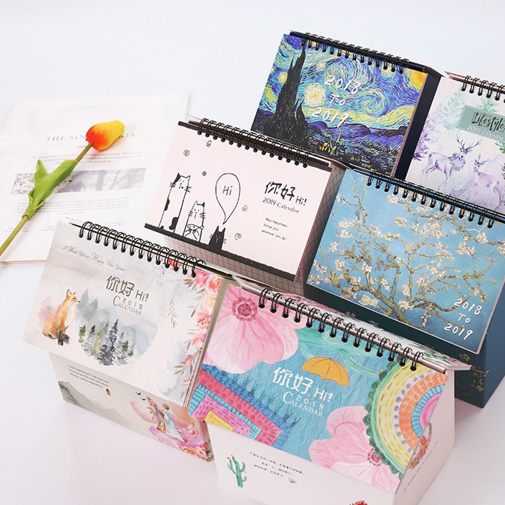 Calendars, Planners & Cards Sale Folding House Flower Deer 2019 Desk Calendar Memo Planner Storage Container Lovely Luster