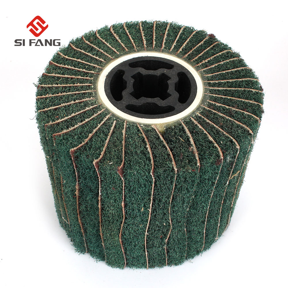 1Pc Non-woven Abrasive Flap Polishing Wire Drawing Wheel For Drawing Polisher Sander Buffing Metal  120# 20mm Hole