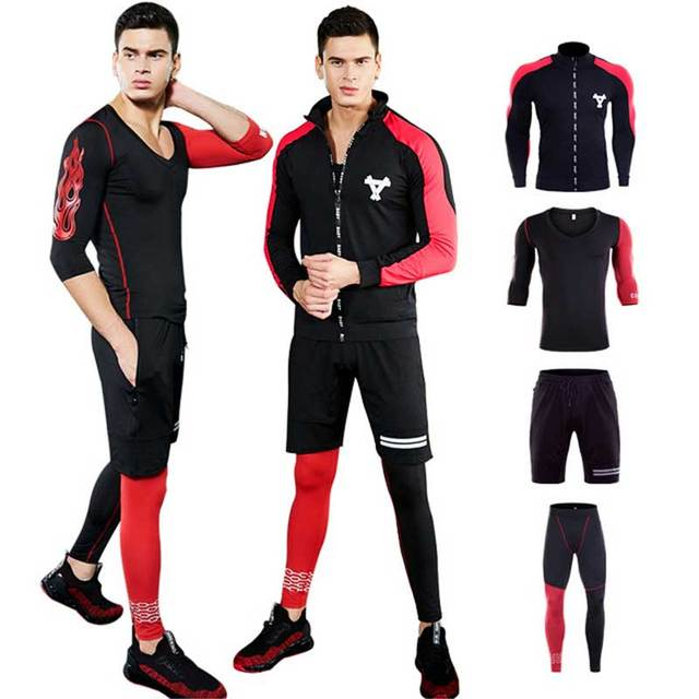 4 Pieces Men GYM Compress Fitness Sets Long Tee Top + Legging + Shorts Workout Exercise Sport Shirts Running Tights A208