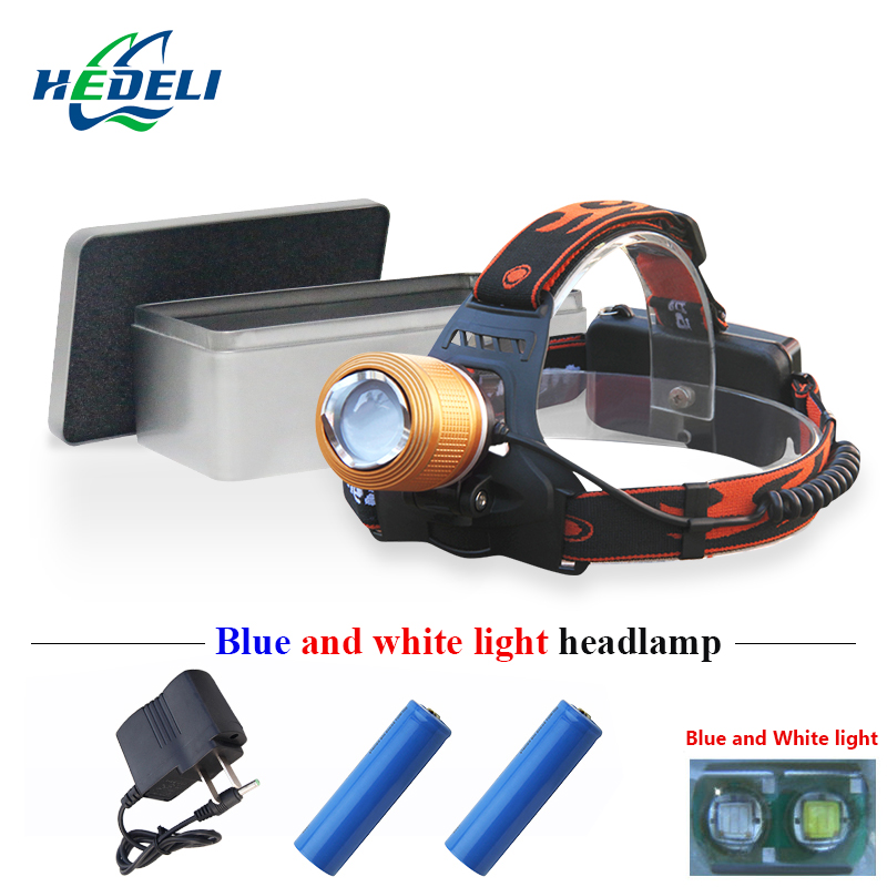 Blu-ray or white light 2 x cree led headlamp rechargeable headlight fishing lamp head torch flashlight forehead 18650 battery