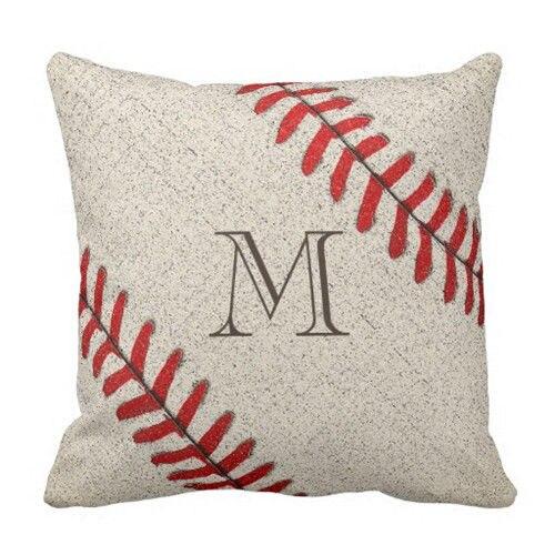 Custom Baseball Monogram Cushion Cover Novelty Baseball Throw Pillow Case Personalized Initial ...