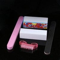 5pcs/set Nail Art Buffer Buffing Blocks Sanding Files Cleaning Brushes Nail Separator Manicure Pedicure Tools Set Nail Art Accessories