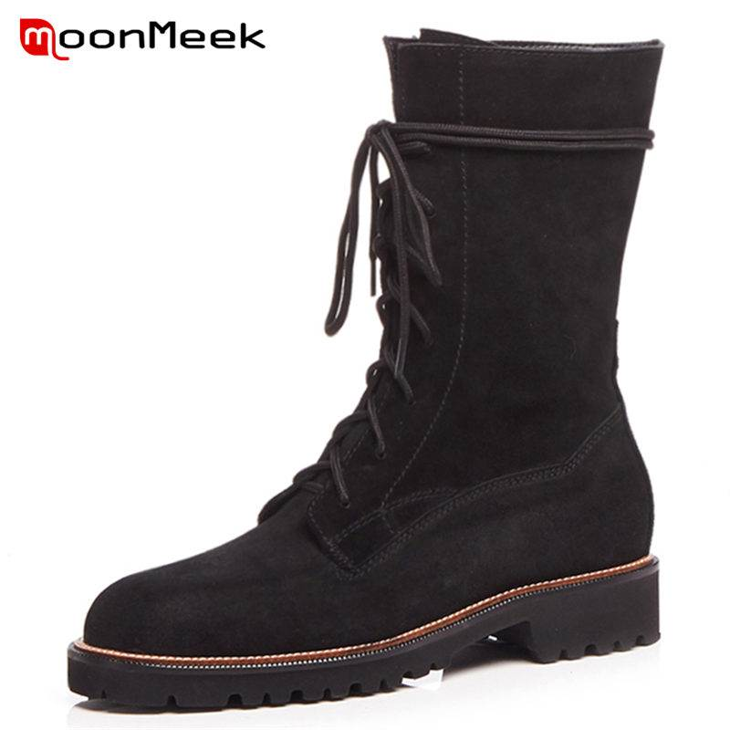 MoonMeek 2018 HOT fashion lace up cow suede leather boots square med heels ankle boots round toe cross tied winter boots round toe suede lace up mens boots