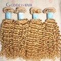 7A honey Blonde Hair brasil 3 unids rizado mucho extensiones virginales del pelo humano 7A brasileño onda del cuerpo del Color 24 rubio pelo virginal