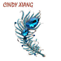 CINDY XIANG large crystal feather brooches for women lake blue color coat brooch pin wedding jewelry party accessories gift