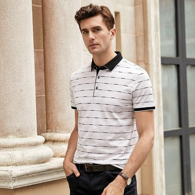 2019 Nuovi Uomini di Alta Qualità T Shirt di Seta degli uomini di Estate manica Corta tshirt Uomo di Seta Cotone t degli uomini della camicia camicia di affari nera - 5