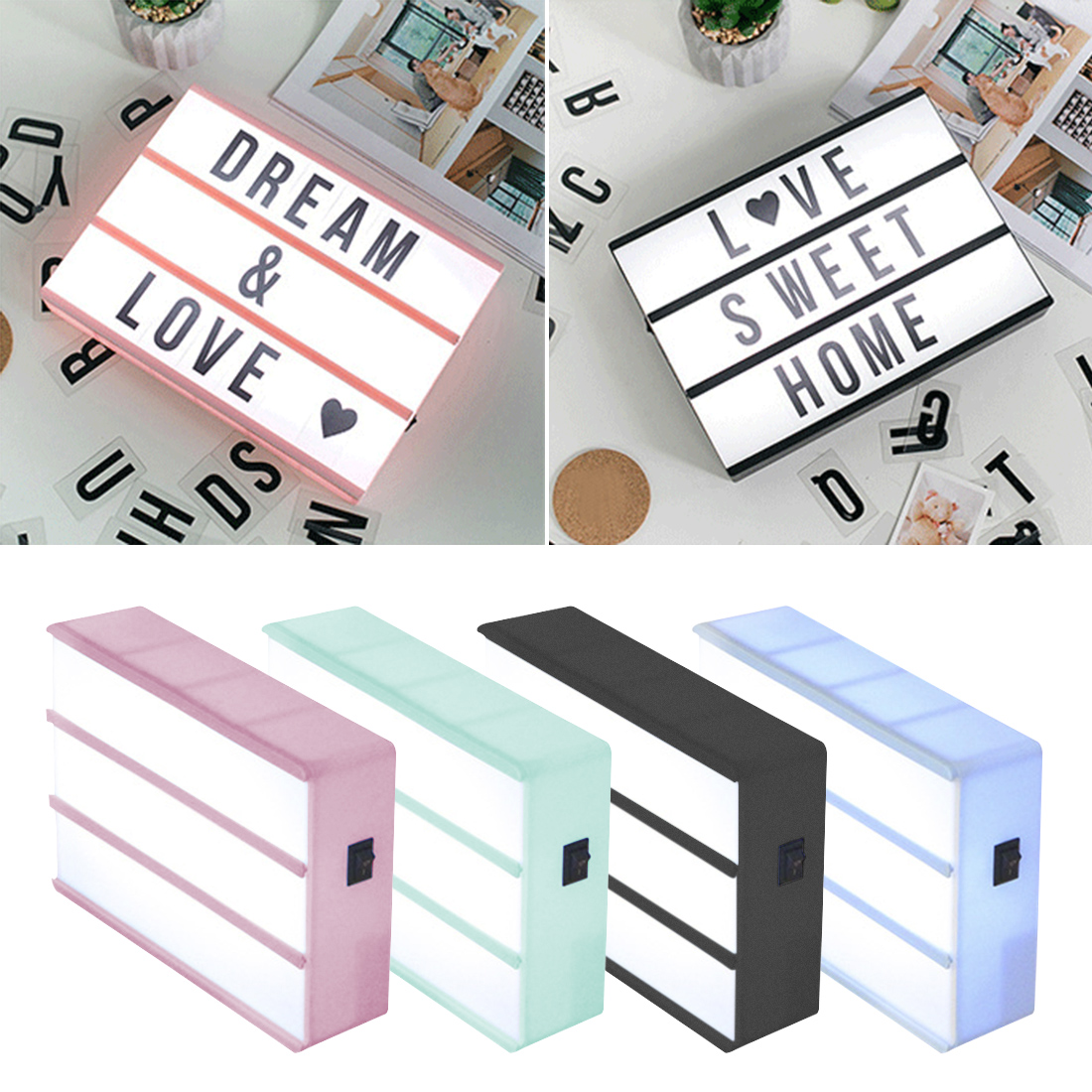 A6 サイズ Led コンビネーション夜の光ボックスランプ DIY 黒手紙カード単三電池シネマライト