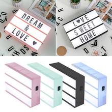 A6 Size LED Combination Night Light Box Lamp DIY Black Letters Cards AA Battery Cinema Lightbox cheap Tonewan Atmosphere Other N1618-01 Night Lights Switch 12V(12V) Dry Battery Holiday Acrylic + PC Alphabet Box Light Black Pink Blue Green