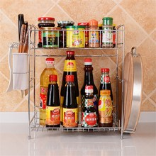 2 Layers Stainless Steel Kitchen Bathroom Storage Shelves 2 Tier Desk Organizer Mutifunctional Storage Rack