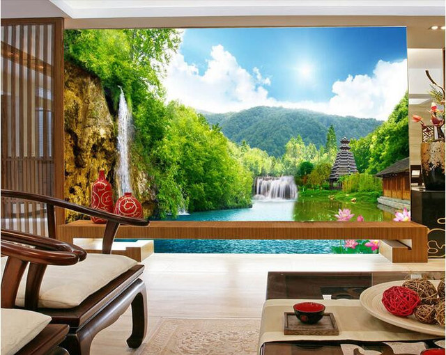 Custom 3d Mural Wallpapers Hd Landscape Mountains Lake: 3d Wallpaper Custom Mural Wall Sticker 3 D Mountain