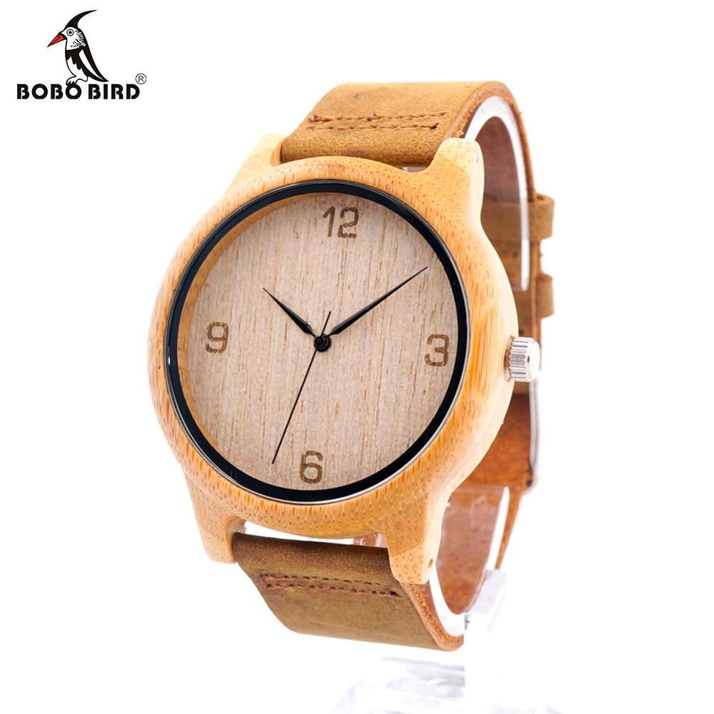 BOBO BIRD CaL09 Bamboo Wood Casual Watch for Men 369and 12 Numbers Dialplate Japan Quartz Clock