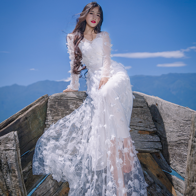 Spring Summer Women White red Lace Gauze Dress Three dimensional Flower Decorative V Neck Maxi Dress