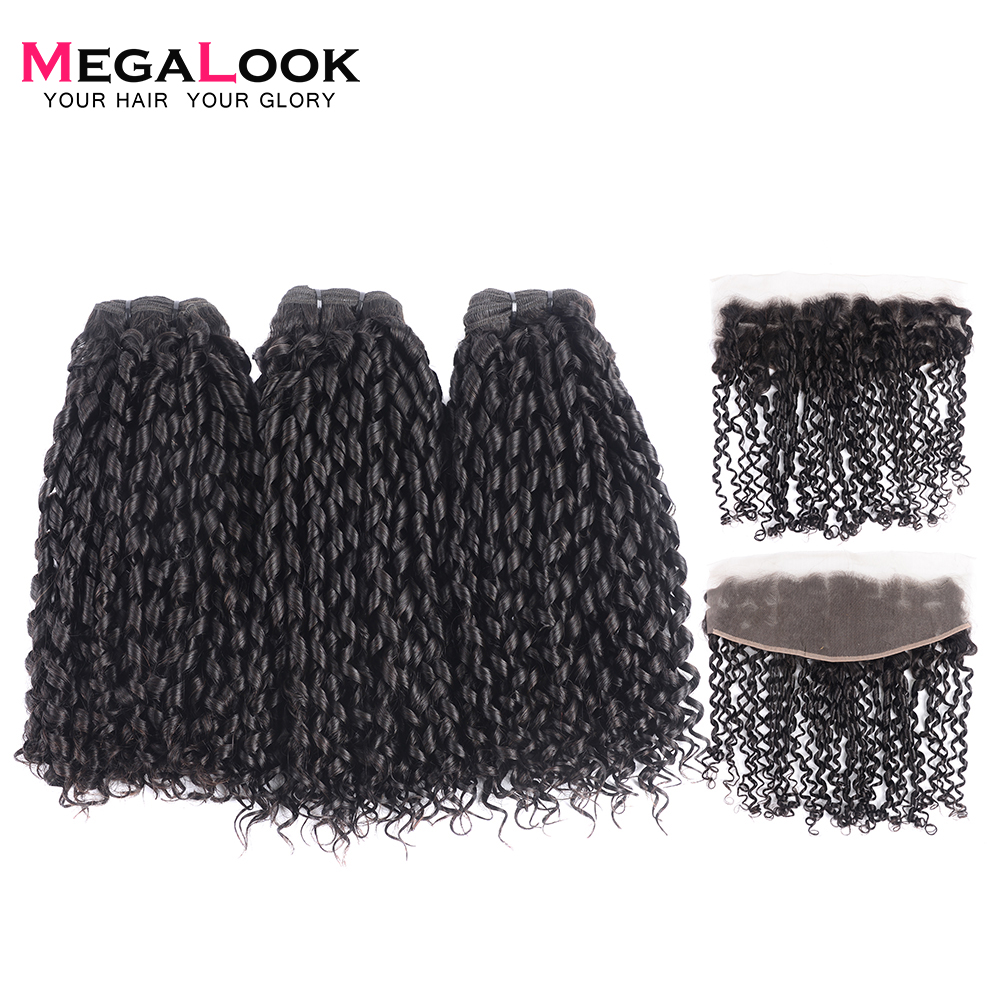 Megalook Brazilian Hair Weave Bundles With Frontal Pissy Curl Bundles With Lace Frontal Ear To Ear 100% Remy Human Hair