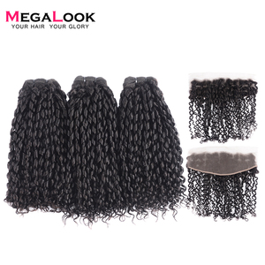 Megalook Brazilian Hair Weave Bundles with Frontal Pissy Curl Bundles with Lace Frontal Ear to Ear 100% Remy Human Hair(China)