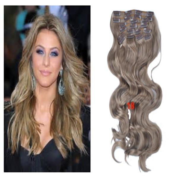 Lose Welle Haarverlängerung Farbe 18 Dunkel Aschblond 10 Teilelos