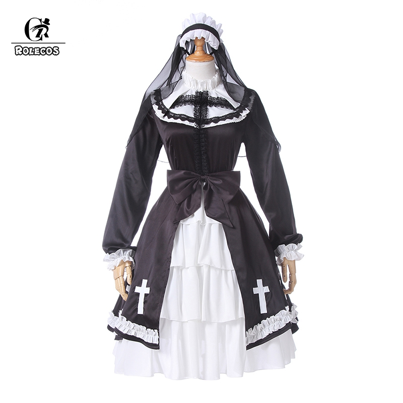 ROLECOS Gothic Lolita Dress OP Lolita Nun Cosplay Costume Medieval Victorian Long Dress for Women Halloween Chiffon Underskirt