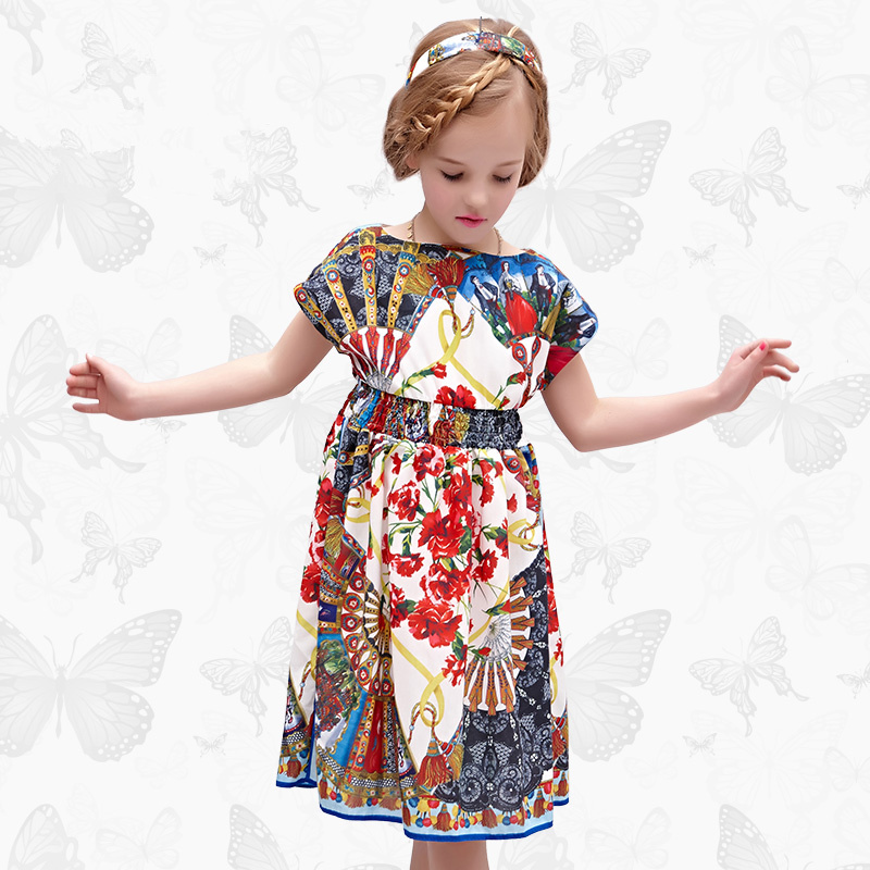 W.L.Monsoon Girl dress Summer dress Floral short sleeve child Princess dress Thin section fashion Cotton Beach dress stunning flare sleeve belted floral dress