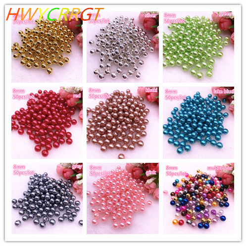 50pcs/lot 8mm  Imitation Pearls Round Beads DIY Bracelet Earrings Charms Necklace Beads For Handicrafts Jewelry Making