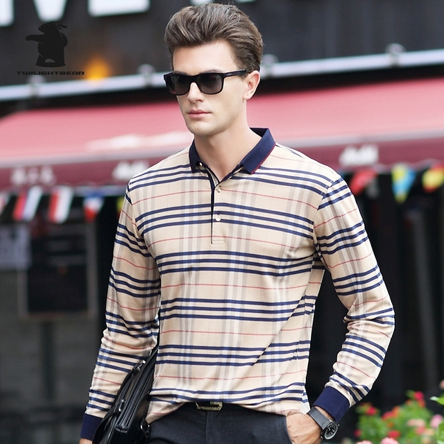 2016 Autumn New men's Long Sleeve Polo Shirts Fashion Grid High Quality Business Casual Polo Shirts For Men Pull Homme CB17D8815