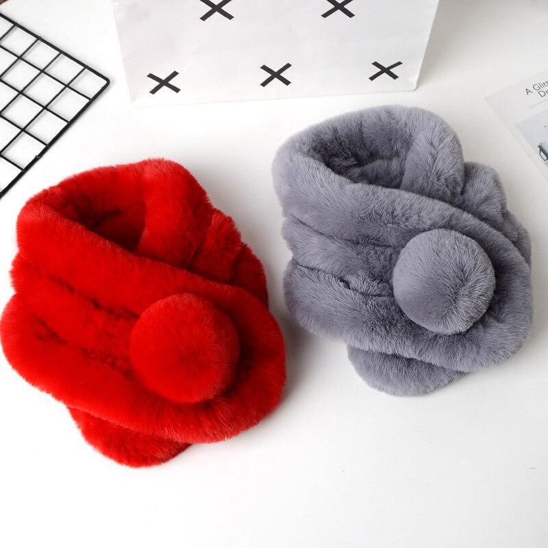 Artificial hair imitation rabbit fur scarf female plush warm fake hair scarf autumn and winter imitation rex rabbit hair