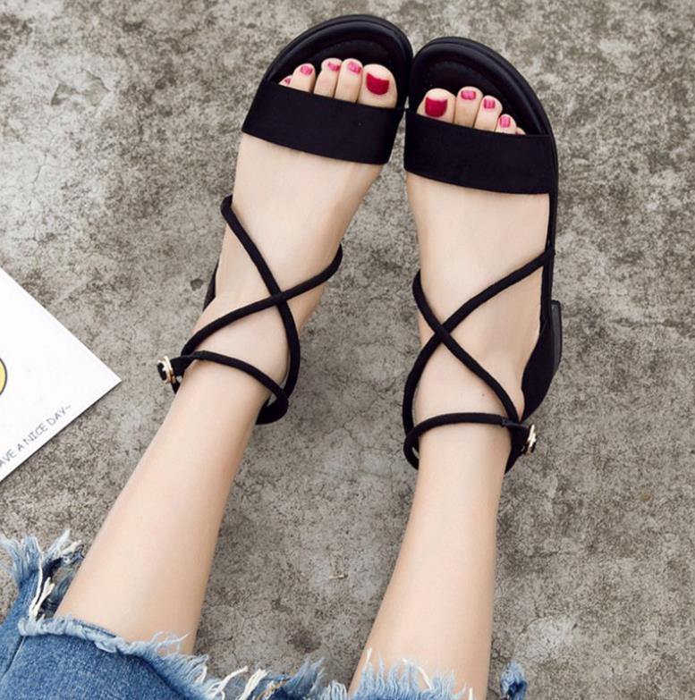 2018 summer new strap flat with ladies sandals open toe flat simple women's shoes 1