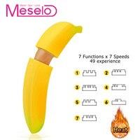 Meselo 7x7 Modes Heating Banana Vibrator Sex Toys For Woman Masturbator USB Charge Clitoral Dildo Vibrator Adult Erotic Products