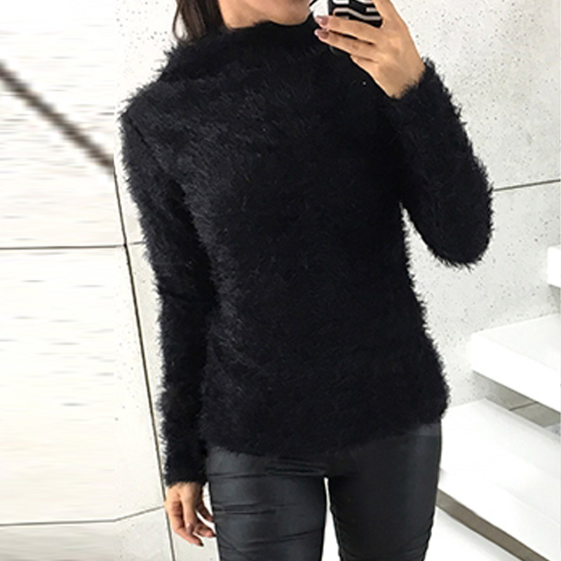 ZANZEA Casual Women Autumn Solid High Collar Long Sleeve Slim Plush Fluffy Sweater Fashion Knitting Party Jumper Pullover 2019