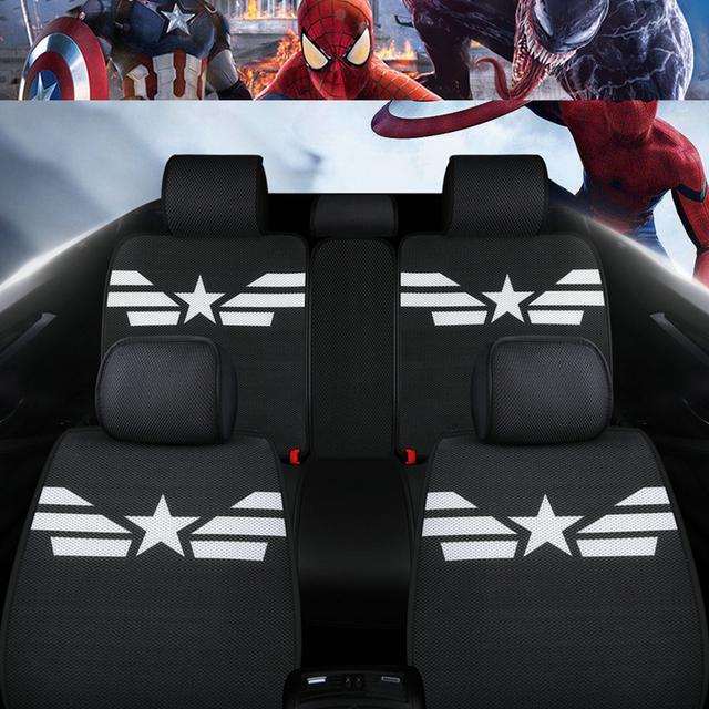 Fundas de asiento de coche marvel dibujos animados Capitán América venom auto cojín protector de silla universal para alfa romeo mazda 6 polo audi a3