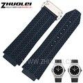 25*19mm New Mens azul Branco preto Mergulho borracha de Silicone Pulseiras de relógio da correia do Relógio Em Aço Inoxidável Depolyment Fivela ajuste HB