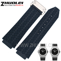 25*19mm Nuevo Mens Blanco azul negro Buceo caucho de Silicona watch correa de Reloj correas de Reloj de Acero Inoxidable Depolyment Hebilla ajuste HB
