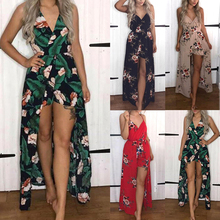 Sexy Women Bodysuit Spaghetti Strap V Neck Floral Print Jumpsuit Loose Backless Short Black Color Overalls For Women 2020 new fashionable ethnic style print spaghetti strap jumpsuit for women