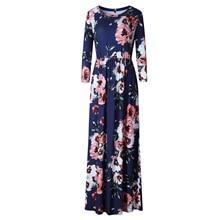BOHO Beach Dress Casual O Neck Floral Print Dresses Women Bohemian Long Maxi Dress Plus Size