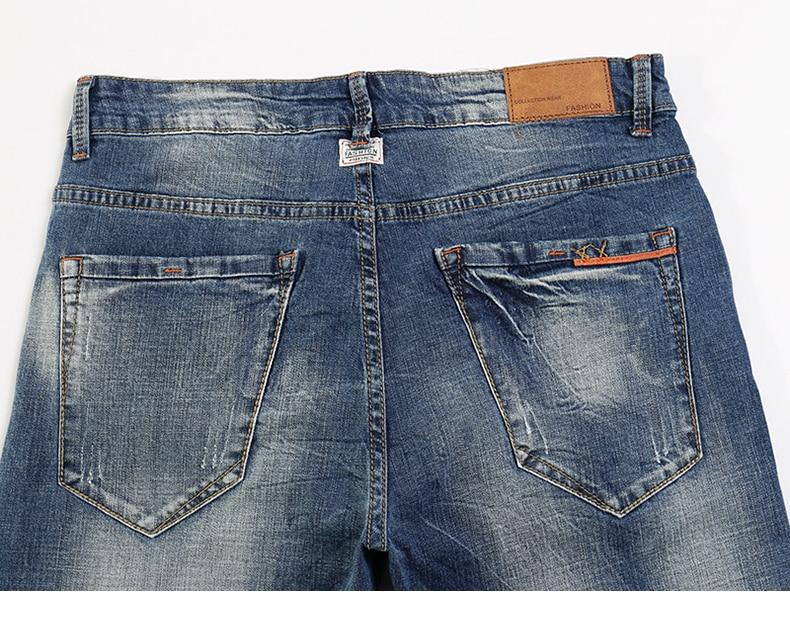 KSTUN Fashion Jeans for Men Slim Straight Blue Stretch Distressed Men's Clothes Trousers Yong Man Casual Pants Cowboys Jean Hombre 38 14