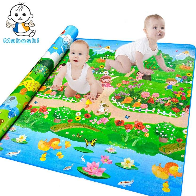 цена на Maboshi Waterproof Quality Children Play Mat Botanical Garden+Forest Park Kids Game Mat Soft Eva Foam Carpet Baby Crawling Mat