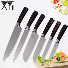 XYj Kitchen Knives Stainless Steel Knife Tools Color Wood Handle Fruit Vegetable Meat Accessories New Arrival 2018