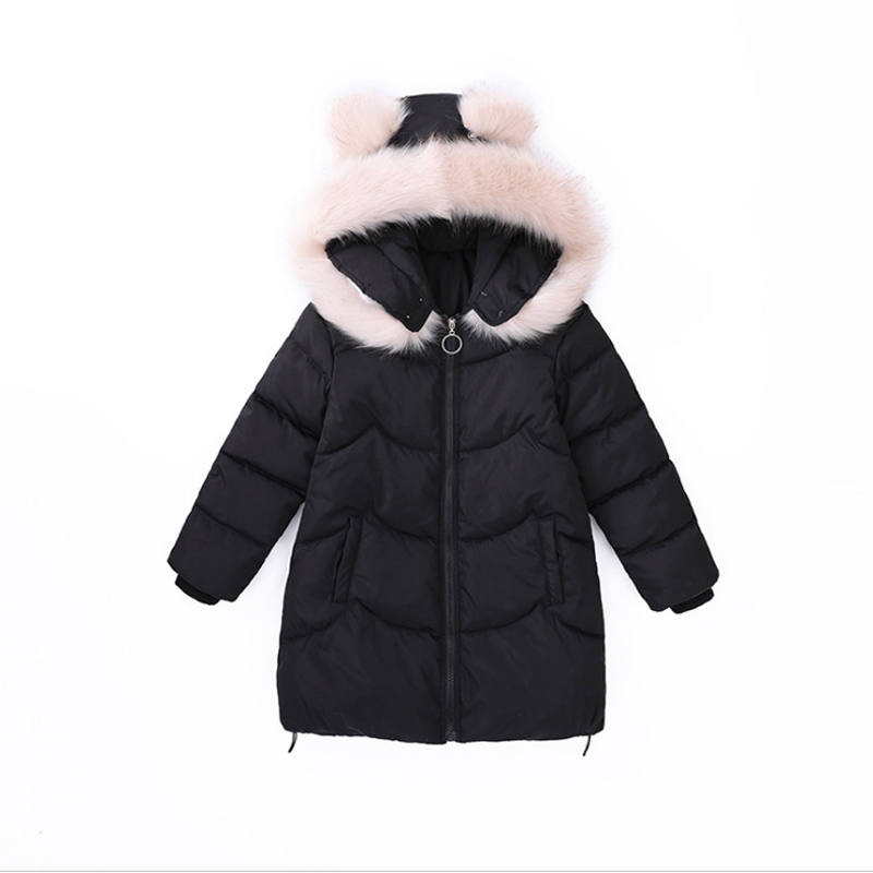 2018 New Children Cute rabbit ears Winter Jacket Girl Winter Coat Kids Warm Thick Fur Collar Hooded long down Coats For Teenage 2017 men down jacket winter warm collar fur trim hood coat outwear puffer down cotton long jacket clothes thick canada cheap top