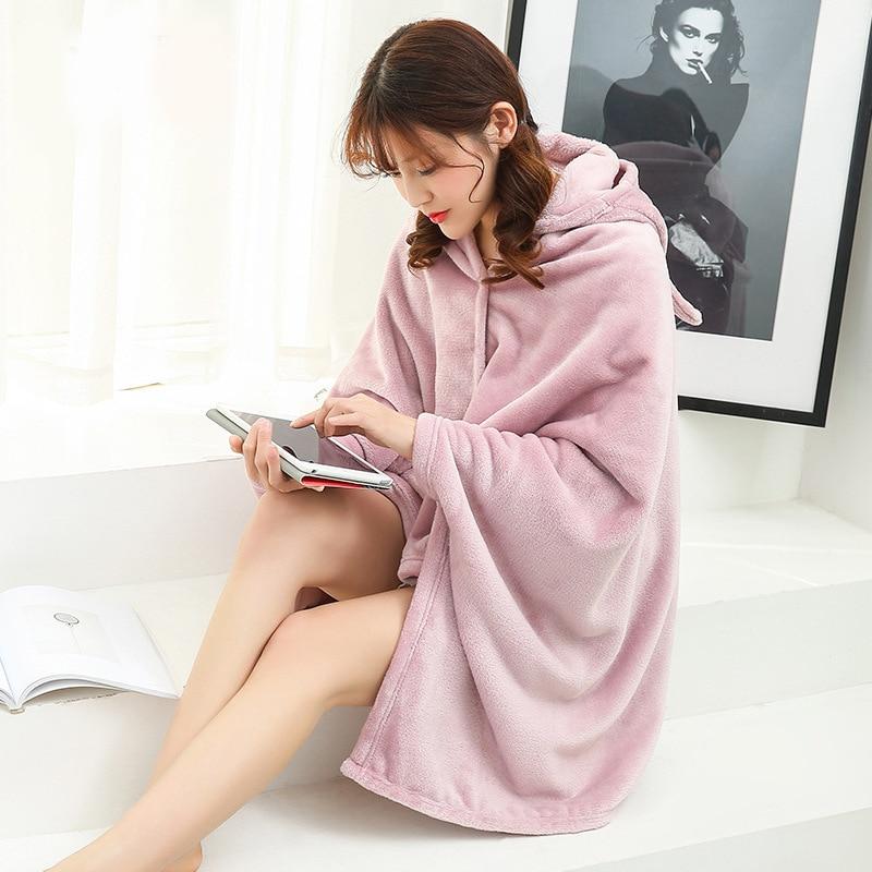 Winter Thick Comfy Hooded Plaid Blanket Sweatshirt Unicorn Warm Coats TV Hoodie Blankets Fleece Blanket Adult for Sofa Beds Kids 9