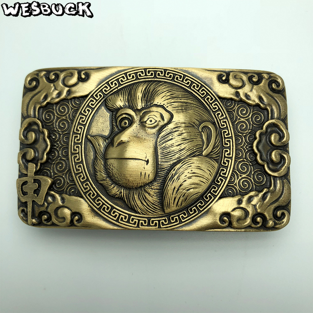 aa6b62cab7b0 Wesbuck Brand Solid Br Belt Buckle Chinese Style Diy 3d Monkey