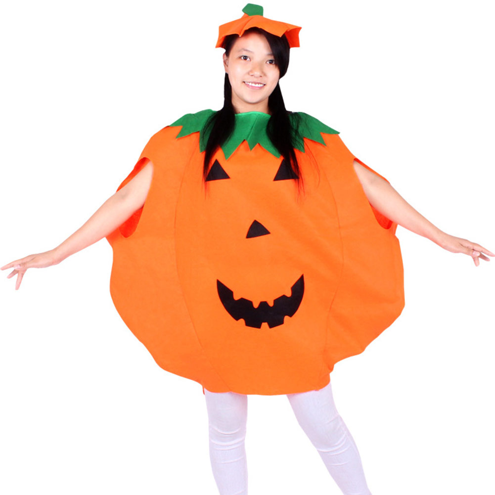 Cute Halloween Pumpkin Dress For Kids Adults Game Performance Costume Party Cosplay Clothing FS99