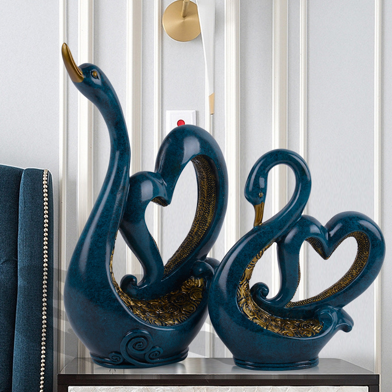 Abstraction Love Swan Colophony Crafts Home Decoration Animals Continental Style Collectible Model Toy L1624Abstraction Love Swan Colophony Crafts Home Decoration Animals Continental Style Collectible Model Toy L1624