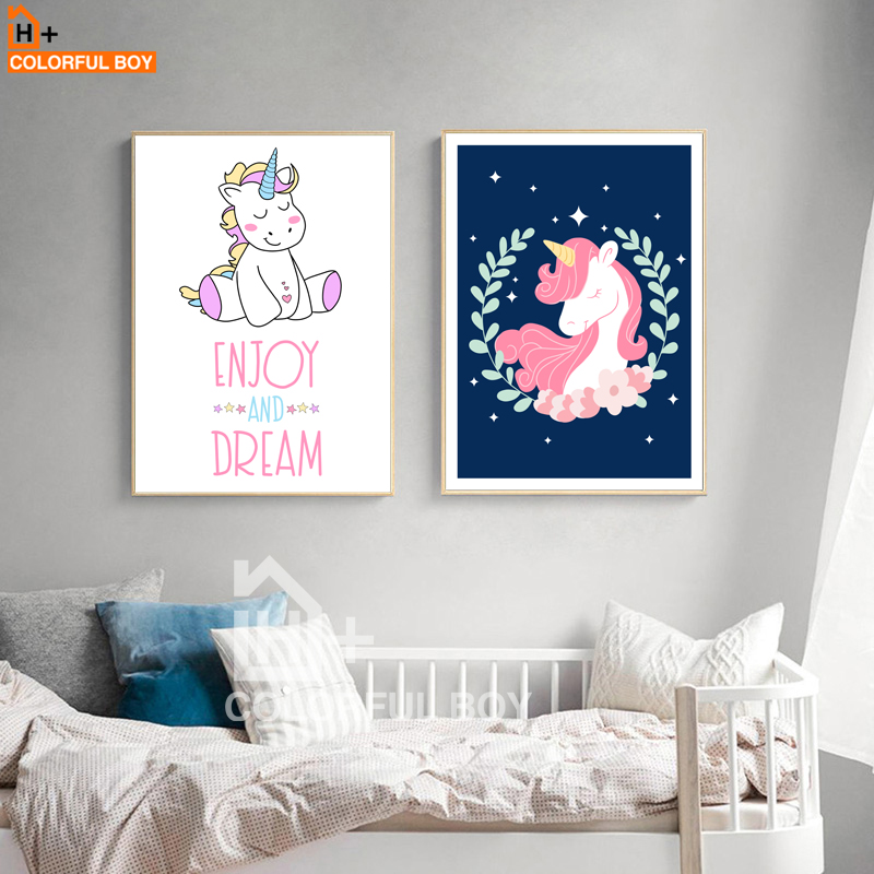 COLORFULBOY Unicorn Baby Wall Art Canvas Painting Nordic Posters And Prints Cartoon Wall Pictures For Living Room Kids Room  wall art unicorn | DIY Unicorn & Skull | EASY Pastel Goth Tumblr Wall Art | COLORFULBOY font b Unicorn b font Baby font b Wall b font font b Art b